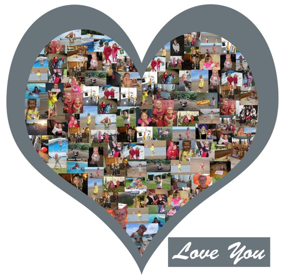 Wall Art Heart Collage : Heart shape photo collage vinyl wall art