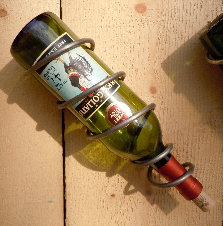 steel spiral single wine bottle holder 750ml raw steel bed
