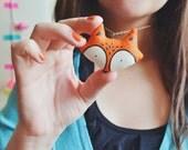 Fox Pendant, Necklace, eco Jewelry, Handmade, Stuffed animal, 2 x 2.4 inch, handpainted, plush animal, orange fox