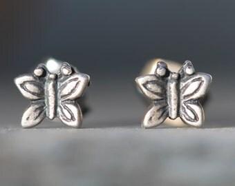 Tiny Sterling Silver Butterfly Earrings