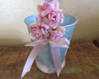 Pink Flower girls pail / galvinized pink paper roses