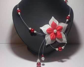 Cable necklace red and white pearls