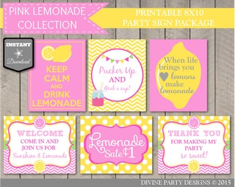 INSTANT DOWNLOAD Printable Pink Lemonade Party 8x10 Sign Package / Birthday Party or Baby Shower / Pink Lemonade Package / Item #401