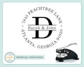 Embosser - JOHN ADDRESS Style - Personalized Name Monogram Address Embosser - Embossing Seal Stamp - Bridal Wedding Housewarming Gift