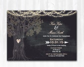 Chalkboard Engagement Invitation DIY PRINTABLE Digital File or Print (extra) Rustic Tree Engagement Invitation String Lights Engagement