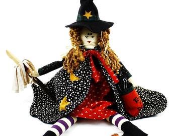 "ZORA The Trick Or Treat Halloween WITCH Handmade Decorative Doll 22"""