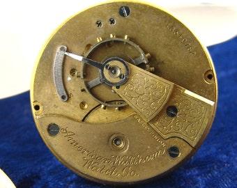 Vtg 1907 Waltham 18s, 7 Jewel Pocket Watch Movement, Open Face, Good Balance, Part or Repair E3125