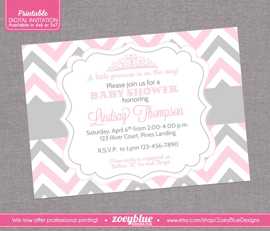 princess baby shower invitation pink grey by zoeybluedesigns