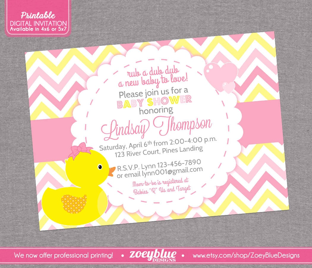 girl rubber ducky baby shower invitation girl by zoeybluedesigns