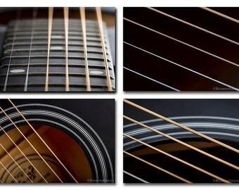"Guitar Photo Series,  4 photos - each 5"" x 7"", Wall Art, SET OF 4 PRINTS Fine Art Photography Prints,"