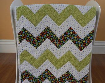 Baby Boy Patchwork Quilt With Turtle Print 34x38... Chevron Baby Quilt