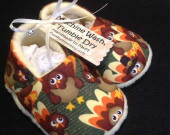 Baby Thanksgiving Turkey Booties- Fleece lined in Fall colors 0-3 6-12 months Great Photo Props