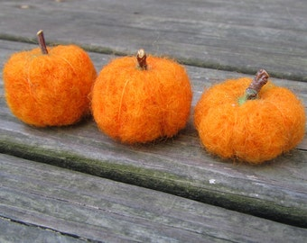 3 Needle Felted Pumpkins