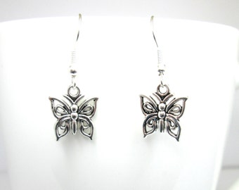 Silver butterfly charm earrings with 925 sterling silver or silver plated ear wires, butterfly jewelry, butterfly jewellery,