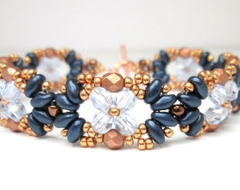 Montana blue and bronze super duo bracelet, superduo bracelet, beaded bracelet, firepolish, beadwoven,