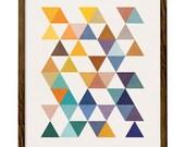 Triangles 6. Retro wall art Geometric art print Mid century geometric art multi colored triangles abstract geometric print. LD10004