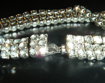 Vintage Rhinestone Bracelet with Three Separated Bands and Unified Clasp
