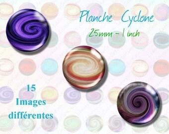 Images digitales Cyclone  25mm, cercle, image imprimable, capsule,  médaillon, feuille de collage, numérique, clipart, loisirs créatifs