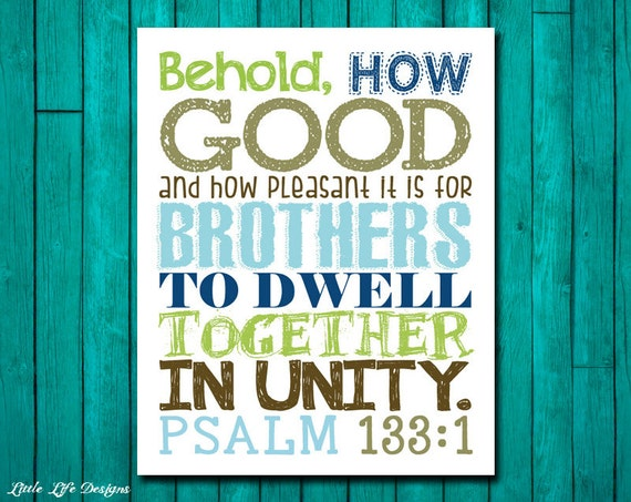 Brothers wall art boys room decor psalm 133 1 scripture for Bible verses for kids rooms