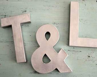 Set of ANY Three Silver Finish Faux Metal Lightweight Letters