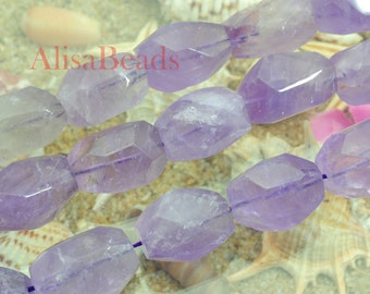 Natural Amethyst,faceted nugget,12-14mmx19-21mm length,beads,15 inches