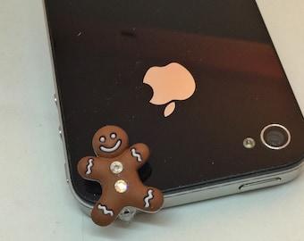 Crystal Gingerbread Man cell phone charm, dust plug charm