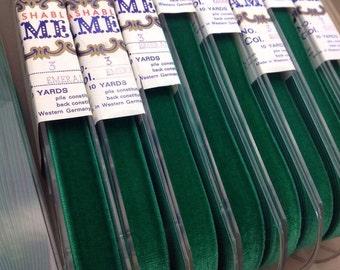 "10 Yards Cameo EMERALD GREEN Velvet RIBBON German Rayon 1"" Spool Vintage Millinery/Doll/Wedding/Hat/Bag/Ornament/Floral Sewing/Craft/Dress"