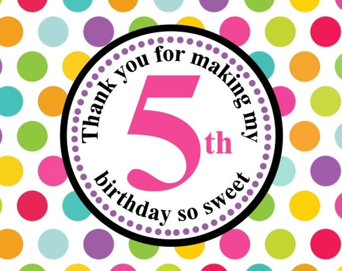 5th Birthday with Rainbow Dots Printable Party Tag, Cupcake Topper, DIY, Instant Download