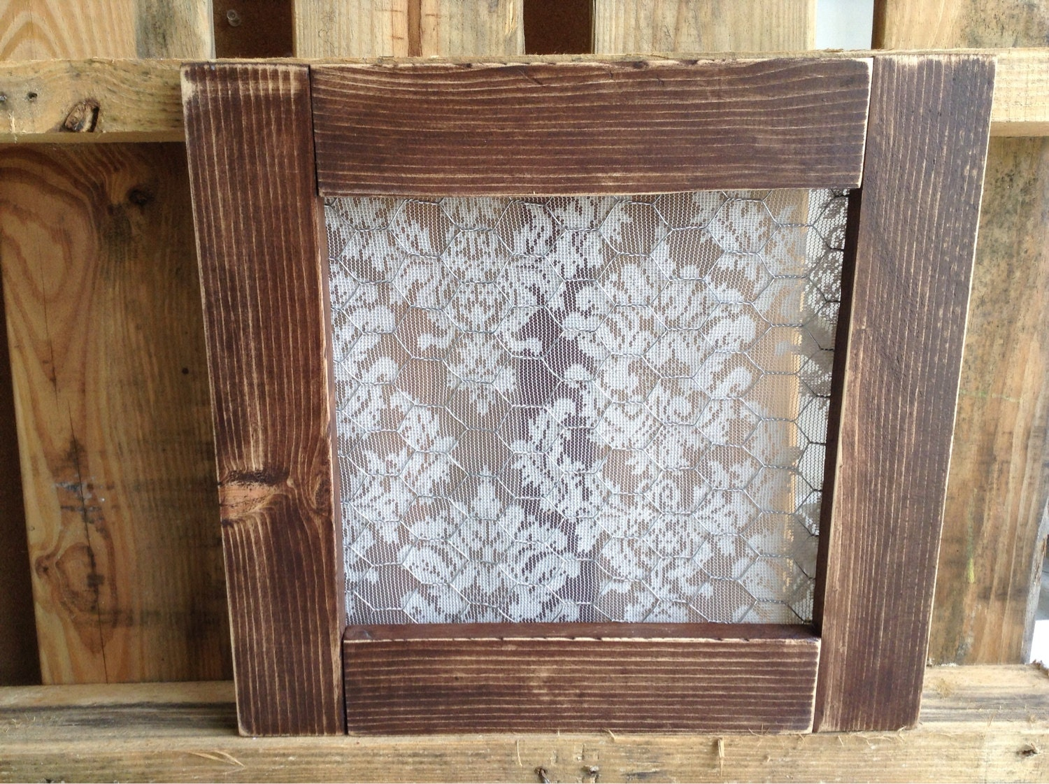 Old Barn Wood Window Frame with Chicken Wire and by