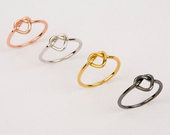 Heart knot ring  Silver knot ring  Heart shape knot ring  Gold knot ring  Friendship ring  Wedding jewelry  Bridesmaid jewelry