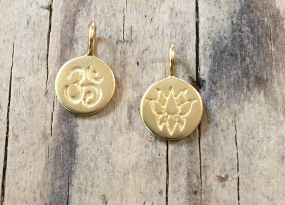 Vermeil Om Charm Vermeil Lotus Charm. Add a charm to your mala tassel.