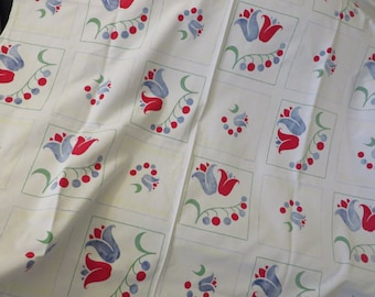 Vintage Cira 1960s Tablecloth  //  Cotton  //  White with Red Blue and 60's Green  //  Lily of the Valley and Tulips
