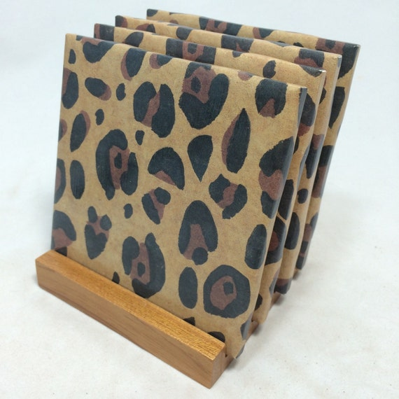 Handmade cheetah drink coasters set of four for Handmade drink coasters