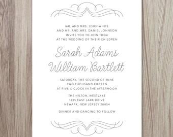 Flourish 3 Wedding Invitation | 5x7 | Printable Download