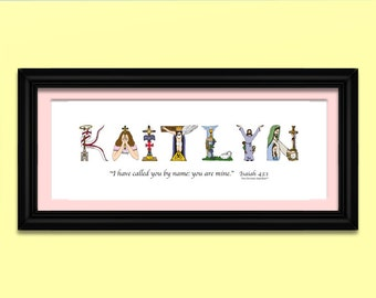 Religious Baby Gift Wall Art Nursery; Personalized Nursery Decor gifts; Baby gift