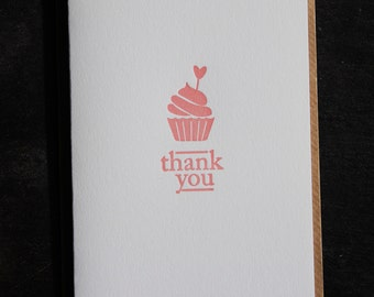 Thank you card, letterpress printed, hand printed, made in Ireland, cupcake