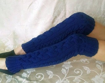 Hand-knitted Thigh High Leg Warmers in Navy Blue Color. Ready to ship.