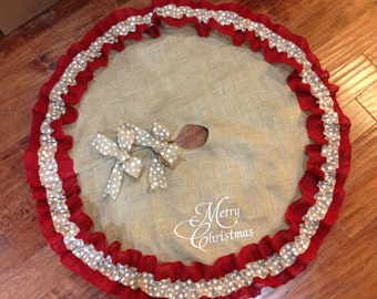 Christmas Tree Skirt Burlap Personalized Single Or Double Ruffled