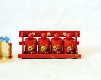 Red Kitchen spice containers with a shelf  Soviet Vintage USSR Rustic Set of 4 wooden  Kitchen decor Russian design organizer Unique Gift