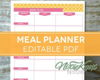 Menu Plan, Weekly Meal Planning Template Printable - EDITABLE PDF - Breakfast, Lunch, Dinner Planner