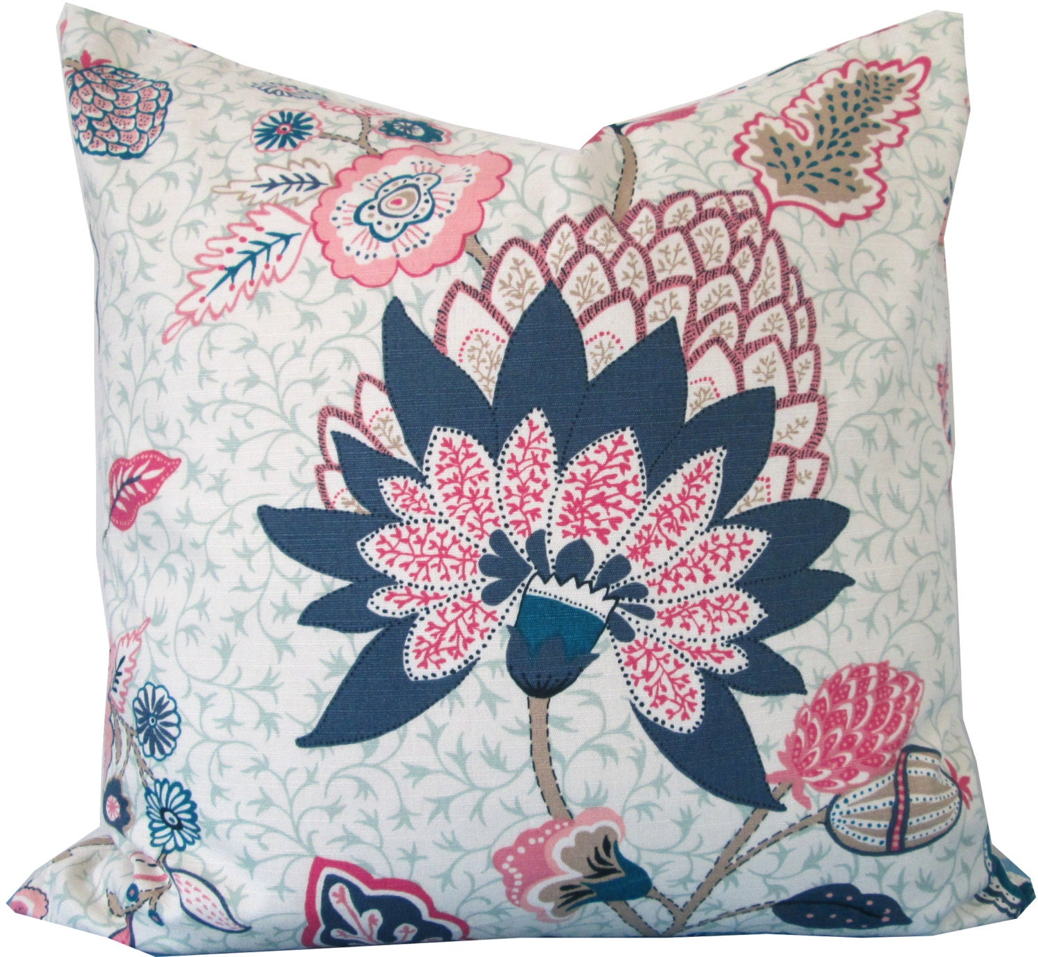 Designer Decorative Pillow Cover-Duralee-Navy Blue and Pink