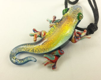Gecko - Glass Pendant Necklace