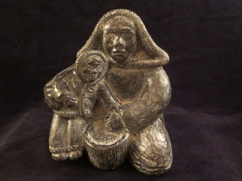 Sculpture inuit vintage wolf art canadien
