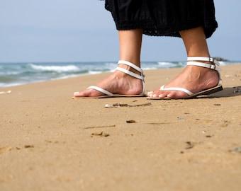 Ankle Double Strap Sandal White Women Shoes