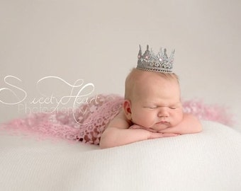 Silver Lace Princess Crown Newborn Photo Prop Maternity Photo Prop Tiny Lace Crown