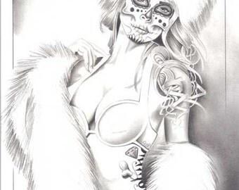 "Original artwork ""Winter Russian Day of the Dead Girl"""