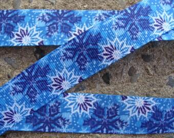 """3 yards 7/8"""" Snowflake Ribbon Grosgrain Ribbon Hair Bow Ribbon Christmas Ribbon Winter ribbon Holiday Ribbon"""