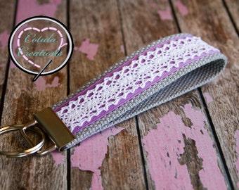 Lace overlay wristlet style key fob keychain