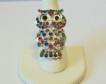 Chic Super Sparkle Pastel Rhinestone Owl Fashion Ring Adjustable Band