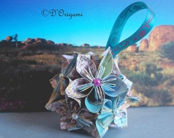Origami flower, paper ball, Japanese Kusudama